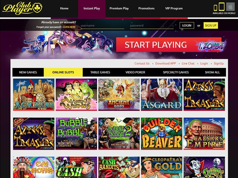 Club Player Casino Mobile Instant Play With No Deposit Bonus